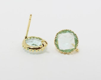 E008602/Erinite/Faceted Glass +Gold Plated Over Brass Frame+Sterling Silver Post/Tooth Framed Circle Glass Earrings/9x 9mm/2pcs