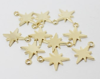 P0437/Anti-tarnished Gold Plating Over Brass /Shinning Star Pendant/14x11mm/2pcs