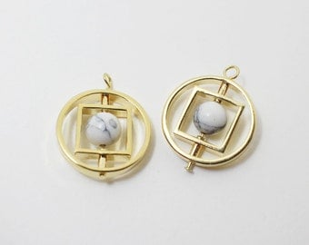 P0445/Anti-tarnished Gold Plating Over Brass + Marble+Howlite /Circle Square Spinning Howlite Pendant/19x16mm/2pcs