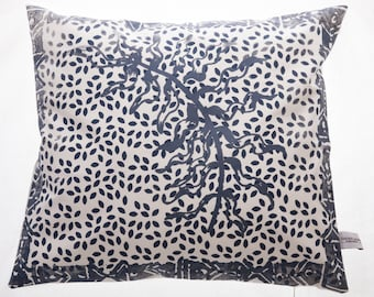 Blue fern on leaves cushion cover
