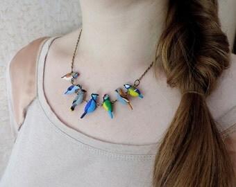 Tiny birds necklace, love birds, birds charm, bird jewelry, cute beads, polymer clay jewelry, small bird necklace, miniature birds