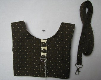 Dog Pet Cat Rabbit Pig Brown with Gold Dots XS, S, M, L Harness Vest with Matching Leash Ready to Ship
