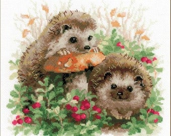 Cross Stitch Kit by Riolis - Hedgehogs In Cranberries