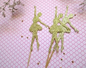 "12 Glitter Ballerina Cupcake Toppers. 4"" Ballerina Picks.  Ballerina Birthday Party. Ballerina Birthday Toppers. Girl First Birthday"