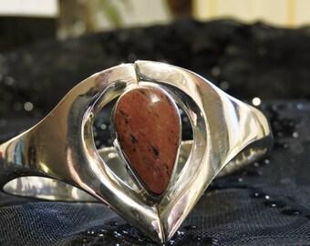 Cuff Bracelet Jasper Solid Sterling Silver