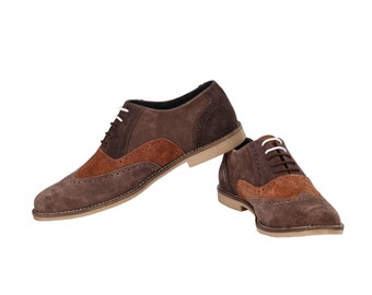 Mens Tri Suede Colour Oxford Brown Brogues | Jacksin Shoes