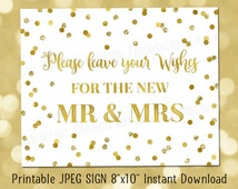 Printable Wishes for the New Mr. and Mrs. Guest Book Sign 8x10 Gold Glitter Confetti Wedding Digital Download