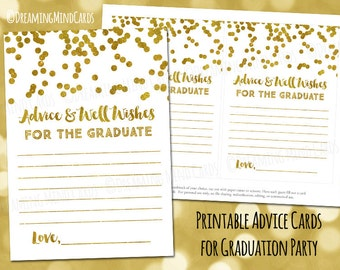 Printable Advice and Well Wishes for the Graduate Cards Gold Confetti Instant Digital Download