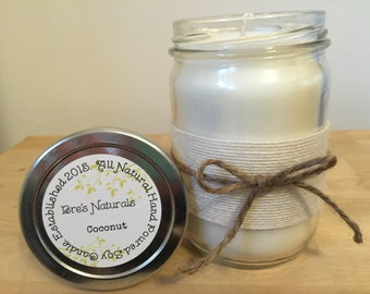 Coconut - Soy Candle - All Natural - Handmade Soy Candle - 12 oz