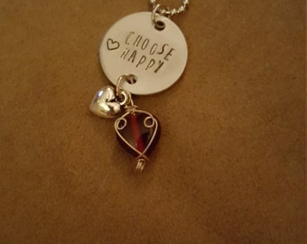 Choose happy stamped charm necklace
