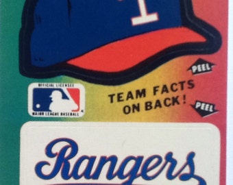 Vintage 1980's Fleer Team MLB baseball Sticker Card Texas Rangers