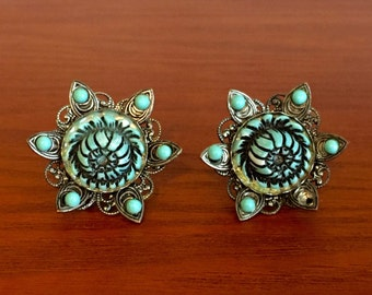 MCM Turqouise and Silver Flower Earrings
