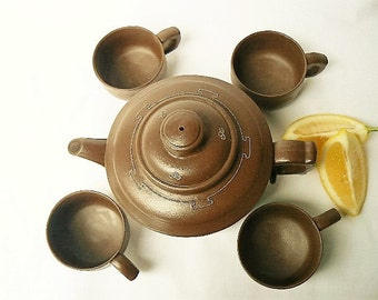 Yixing Style Teapot Set with 4 Small Cups - Traditional Asian/Chinese Brown Purple Clay Unglazed Set for Black/Oolong/Green/White/Puer Teas
