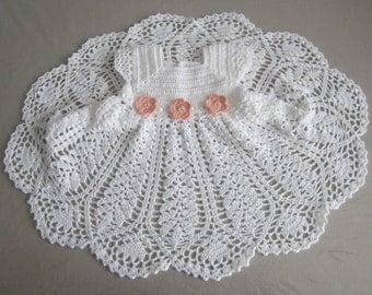 Baptism crochet dress, baby girl crochet dress, white ceremonie dress, white coton girl dress, little girl crochet dress, crochet baby dress