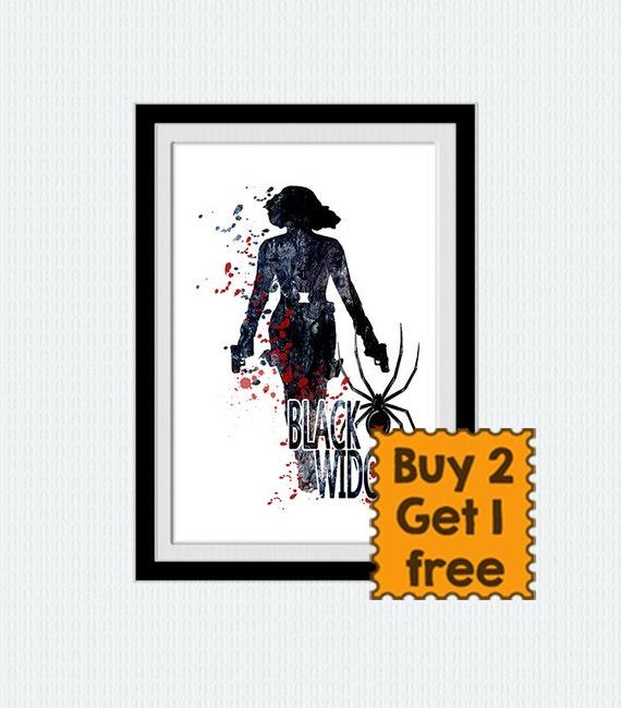 Black Widow Art Print Black Widow Poster Avengers Wall Decor