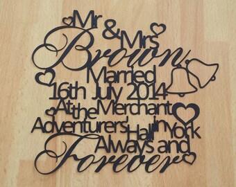 Personalised Wedding Paper Cut Gift UNFRAMED, Engagement Gift, Anniversary Gift, Wedding Keepsake, Wedding Gift, Wall Decor, Mr and Mrs