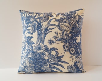 Pillowcase toile de Jouy blue, 40 x 40 cm