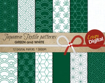 Green White Digital Papers Japanese Patterns  12pcs 300dpi Digital Download Collage Sheets Scrapbooking Printable Paper