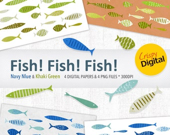 Fish Digital Paper Printable Cute Fish in Navy Blue and Khaki Green 8pcs 300dpi Digital Download Scrapbooking