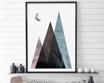 Mountain Print, Mountains, Scandinavian Print, Scandinavian Art, Mountains Poster, Downloadable Prints, Printable Art, Minimalist Poster