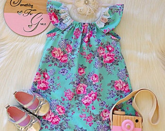 Aqua floral Flutter sleeve dress birthday wedding party girl baby coming home outfit