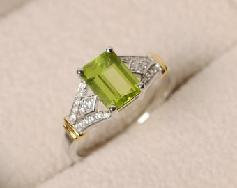 Natural peridot ring, yellow gold, emerald cut, green perisot, wedding ring