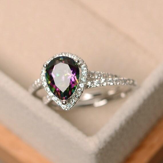Mystic Topaz Ring Engagement Ring Rainbow Topaz Ring