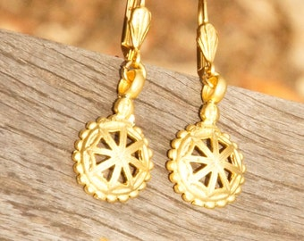 Exotic One of a Kind, Gold Plated Earrings, (25x16mm)