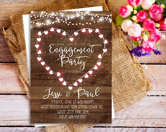 rustic engagement invitation, bbq engagement party invitation, spring engagement party invitation, country engagement invites, stringlight