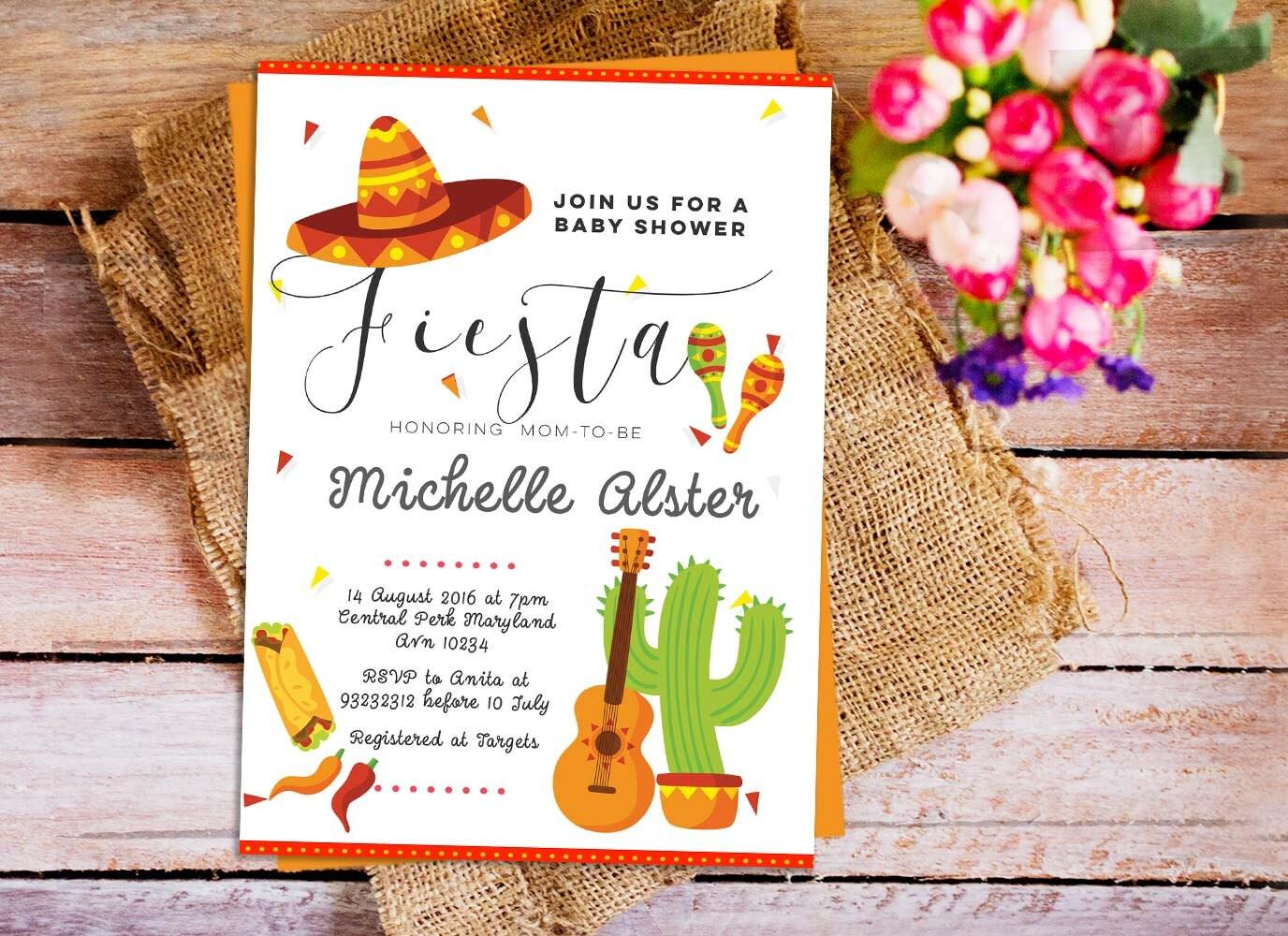 mexican fiesta baby shower invitation fiesta baby shower