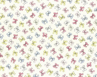 1/2 yard Lecien Japan Old New 30's Spring 2016 Collection | Cream Bows 1930's Reproduction Print | # 31373L-10