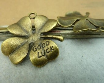 10 Large Clover Charms Antique Bronze Tone Four Leaf Clover Good Luck Charms