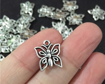 BULK 50 Small Butterfly Charms Antique Silver Tone - WS8055