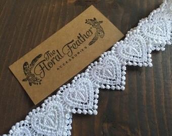 Heart Lace Headband - Valentines day headband - white heart - heart lace - heart headband - lace headband