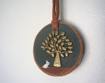 Handmade Red Oak Wood • Wooden Necklace (Oak) • Wooden Pendant