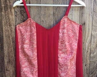 Vintage Japanese Kimono Silk camisole, singlet top in red with pintucks, Size Medium