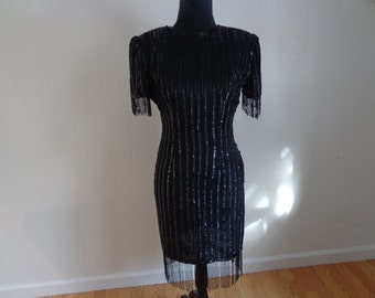 Absolute Stunning Vintage 100% Silk Black Sequin and Beaded Dress - Size 4