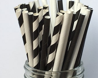 paper straws, black paper straws, white paper straws, black striped straws, black and white theme, party decor, sipping straws, party straws