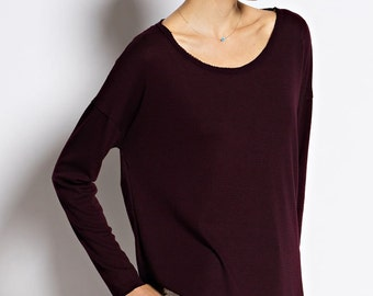 T5144 Long Sleeve Round Neck High-low Loose Fit Top