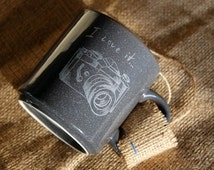 Ceramic cup,photographer gift,black cup,gray,gift for him,original cup,unisex,camera,clay mug,custom gift,stoneware,pottery cup,tea cup