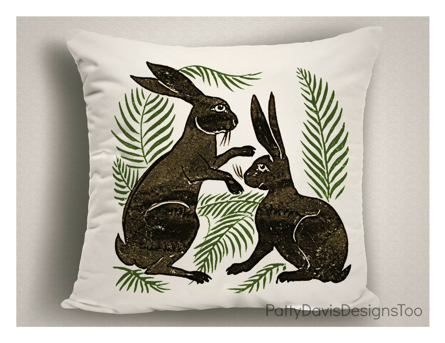 Decorative Pillows For Easter : Unique Easter Pillows With Bufnnies and Ferns Easter Pillow