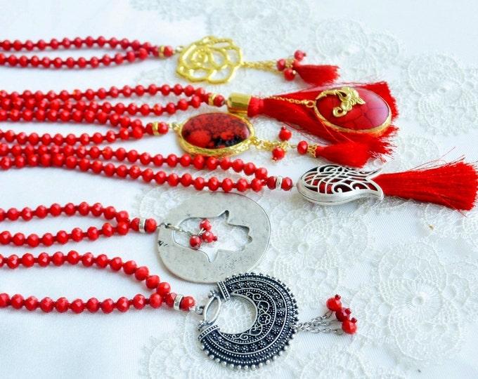 allah haffaza golden glass rosary, nice crimson seedbeads, pleasant dowry, muslim glass sibhah, islamic tasbeeh, wedding gift, shape tesbih