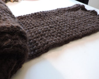 Thick brown scarf 100% alpaca