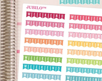 Straight Weekend Banners - Planner Stickers - Fits Erin Condren Planner