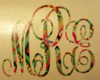 Lily Pulitzer inspired cursive monogram decal