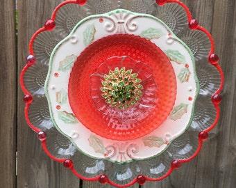 """Christmas Plate Flower, Garden Decor, Yard Art, """"Noel"""""""