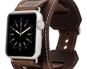 Genuine Leather Watch-Cuff Band for Apple Watch, Husband Wife Boyfriend Gift, Apple Watch Leather Band 42mm in AnticCoffee