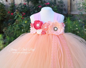 Flower girl tutu dress. Flower girl dress. Birthday dress. Peach and coral dress. Pageant tutu. Very full and poofy. More colors available.