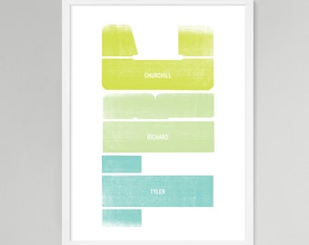 Initial Verical Personalized Baby/Kids Art (Green, Large)