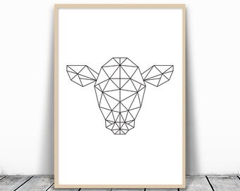 Geometric Art, Animal Abstract, Animal Head Print, Geometric Cow Print, Art Print Geometric, Black and White Printable Art, Instant Download